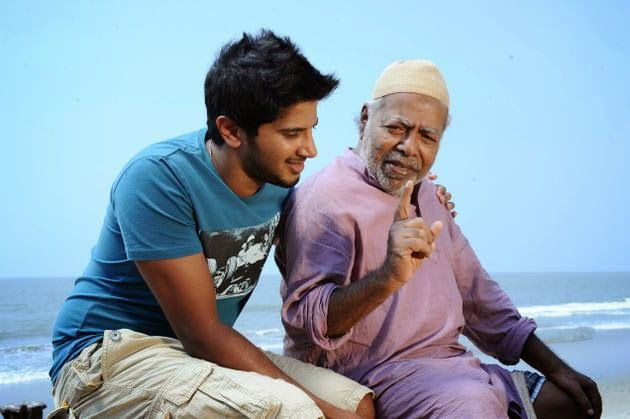 Thilakan and Dulquer Salmaan in Usthad Hotel