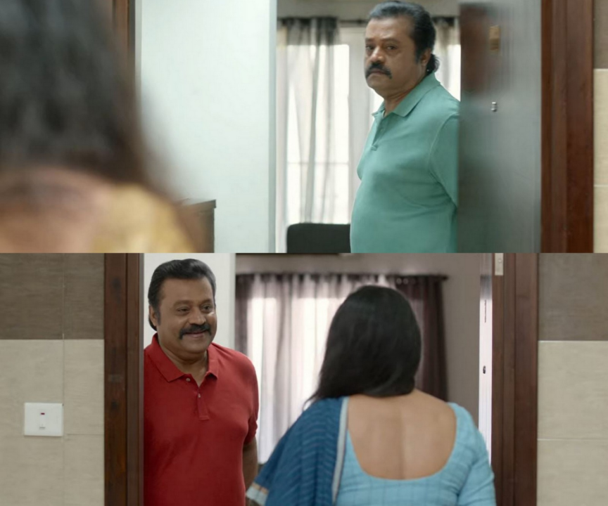Suresh Gopi at his door in Varane Avashyamund
